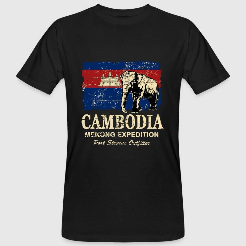 Cambodia - Elephant - Vintage Look  T-Shirts - Men's Organic T-shirt