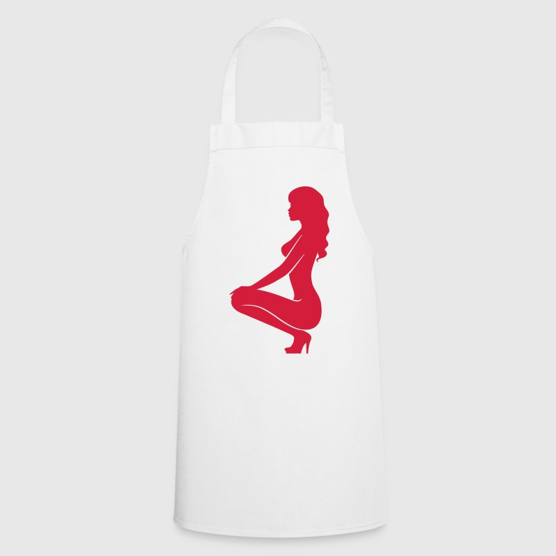 A sexy girl kneeling on the floor  Aprons - Cooking Apron