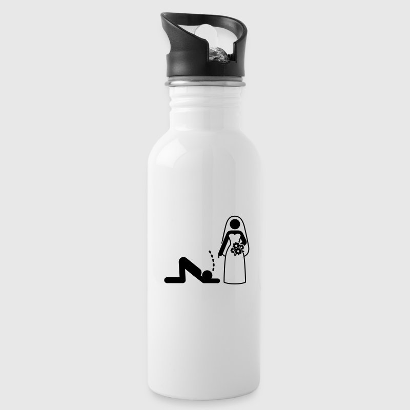 A dominant bride holds her husband as a slave Mugs & Drinkware - Water Bottle