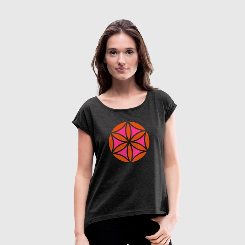 Flower of Aphrodite, Symbol of  love, beauty and transformation, T-shirts, Hoodies & Sweatshirts, - Women's T-shirt with rolled up sleeves