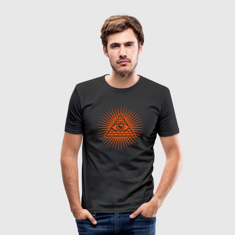 all seeing eye -  eye of god / pyramid - symbol of Omniscience & Supreme Being T-shirts - Herre Slim Fit T-Shirt