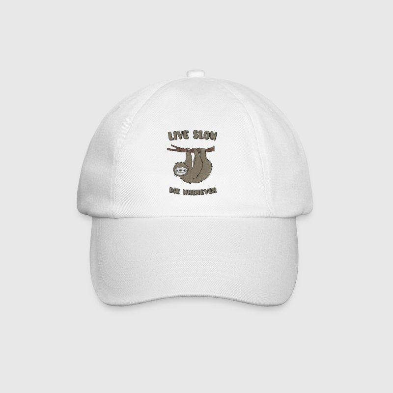 Funny & Cute Sloth Live Slow Die Whenever Slogan Caps & Hats - Baseball Cap