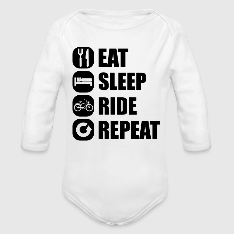 eat_sleep_ride_repeat_1_1f Babybody - Økologisk langermet baby-body