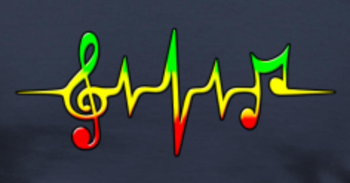 Reggae music notes pulse frequency rastafari t shirt