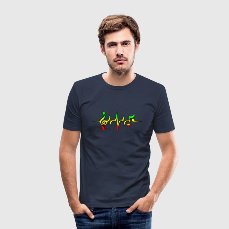 Reggae, music, notes, pulse, frequency, Rastafari  - Männer Slim Fit T-Shirt