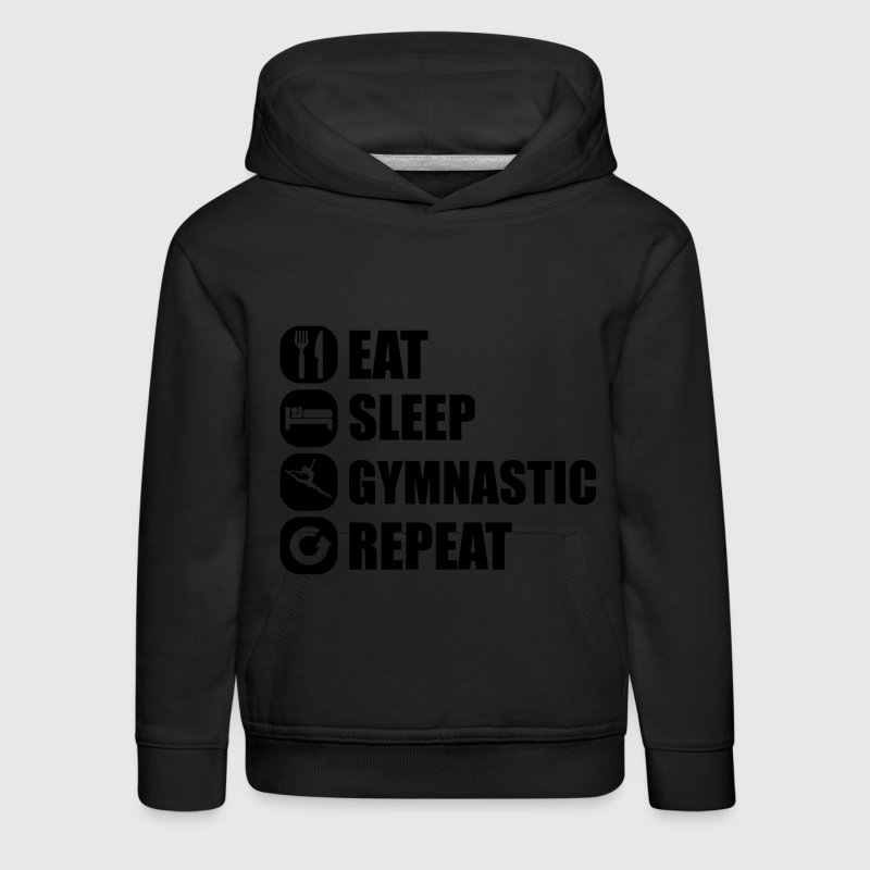 eat_sleep_gymnastic_repeat_2_1f Sweaters - Kinderen trui Premium met capuchon