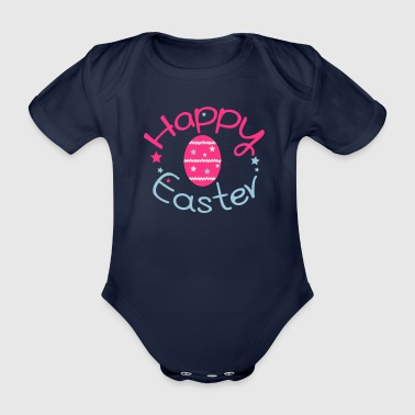Happy easter Kids' T-Shirt - Organic Short-sleeved Baby Bodysuit