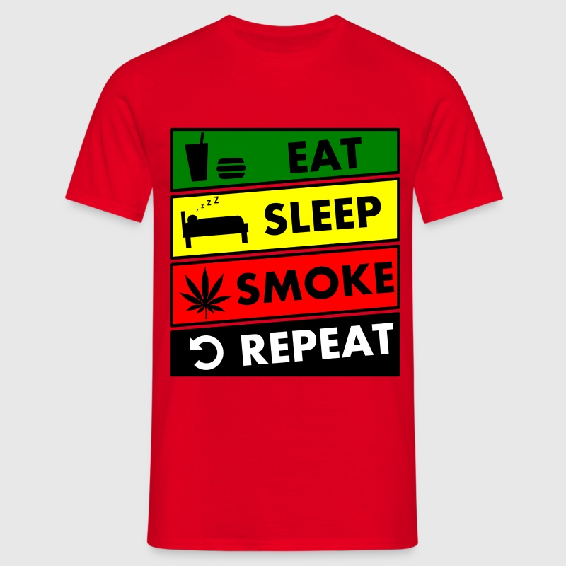 eat sleep smoke repeat Tee shirts - T-shirt Homme