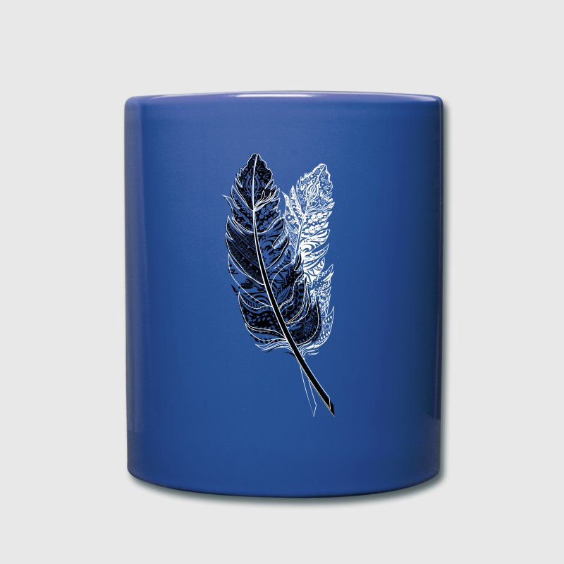 Black and white bird feather Mugs & Drinkware - Full Colour Mug