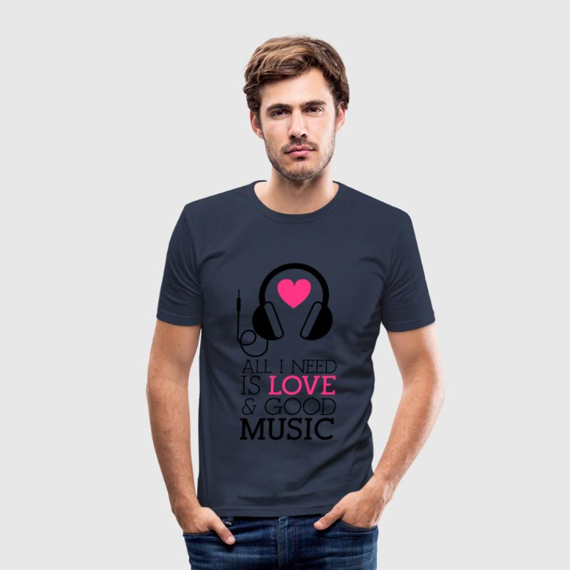 All i need is Love and  Navy Version - Camiseta ajustada hombre