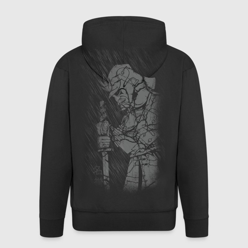 Samurai in rain Hoodies & Sweatshirts - Men's Premium Hooded Jacket