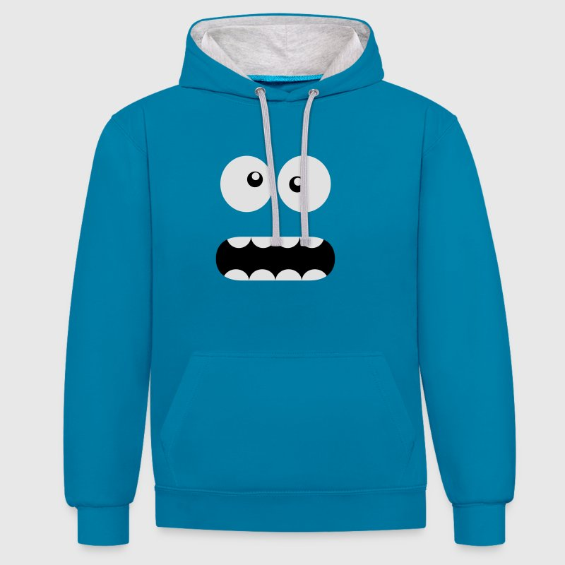 Funny Cartoon Monster Face - Crazy / Smiley Sweatshirts - Kontrast-hættetrøje