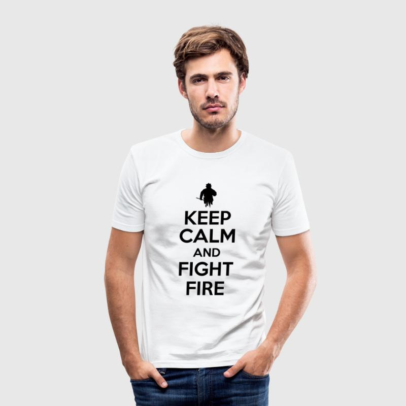 Keep calm and fight fire Tee shirts - Tee shirt près du corps Homme