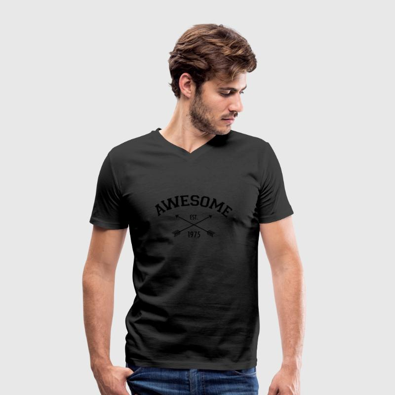 Awesome Est 1975 T-Shirts - Men's Organic V-Neck T-Shirt by Stanley & Stella