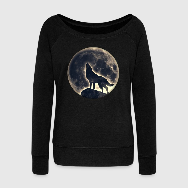 Wolf full moon, wolves, native, Indians, wild, dog - Women's Boat Neck Long Sleeve Top