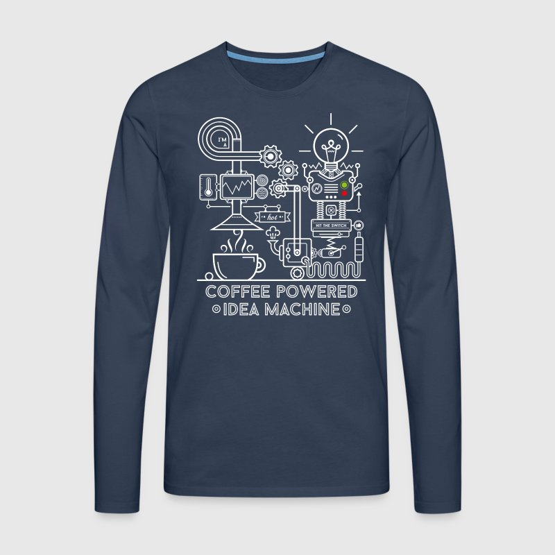 Marinblå Coffee powered Idea Machine Långärmade T-shirts - Långärmad premium-T-shirt herr
