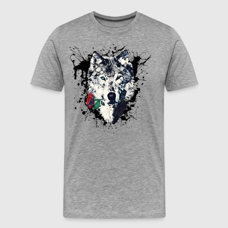 Wolf with Rose, Love Symbol, Wolves, Freedom,  Bags & Backpacks - Men's Premium T-Shirt
