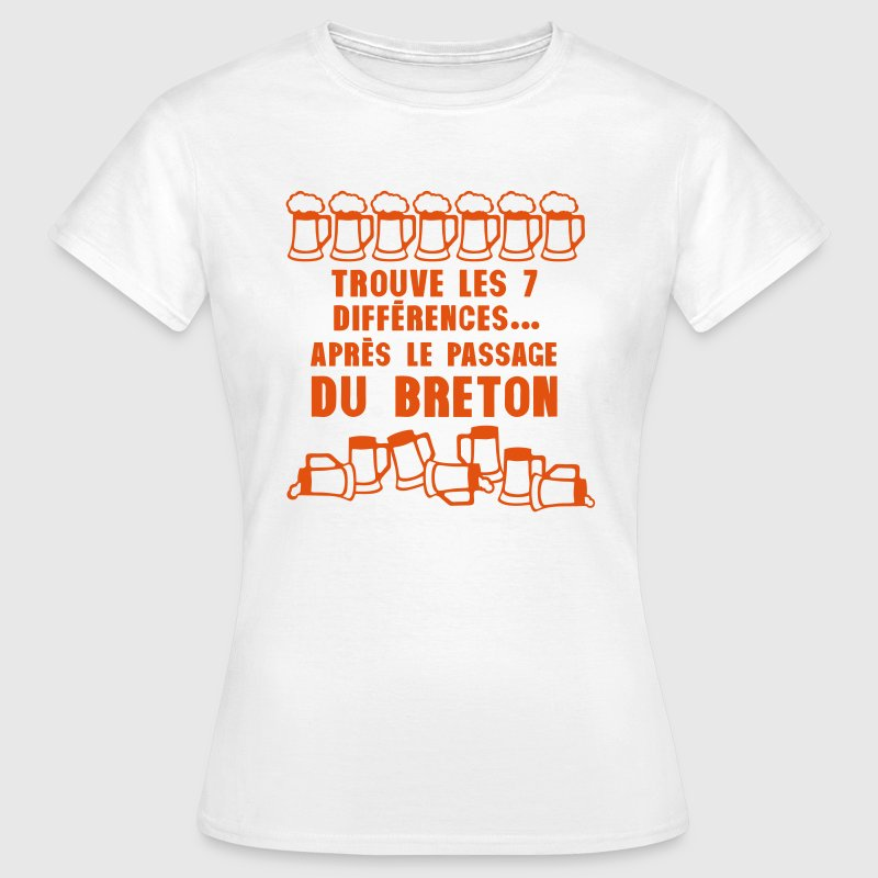 7 difference apres passage breton biere Tee shirts - T-shirt Femme