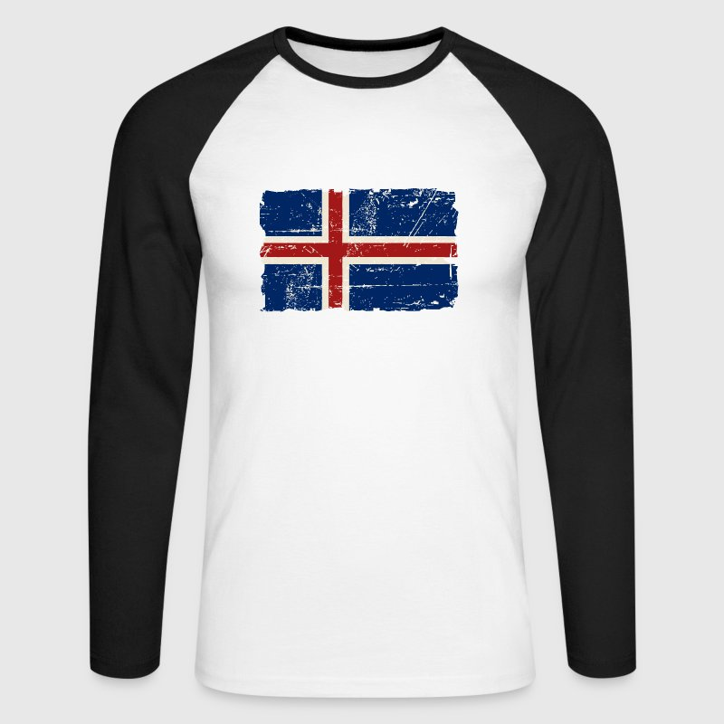 Iceland Vintage Flag Long sleeve shirts - Men's Long Sleeve Baseball T-Shirt