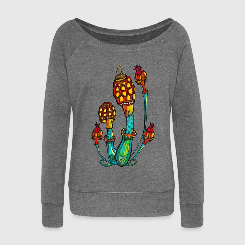 Magic Mushrooms, Psychedelic, Goa, Trance, Rave Hoodies & Sweatshirts - Women's Boat Neck Long Sleeve Top