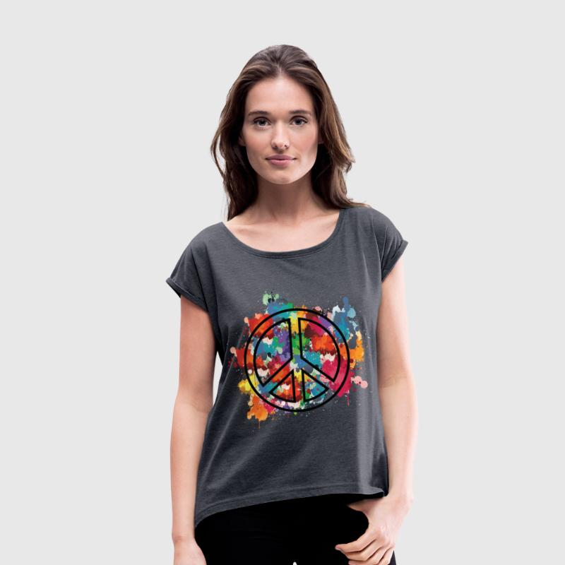 Paint peace sign Women's T-shirt with rolled up  - Women's T-shirt with rolled up sleeves