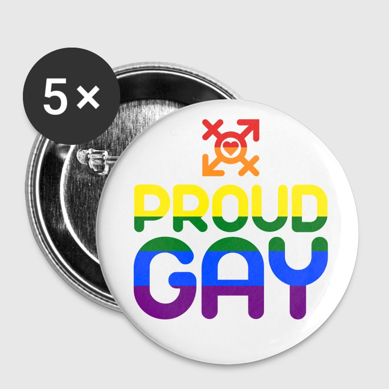 Proud Gay (bunt) Buttons & Anstecker - Buttons mittel 32 mm