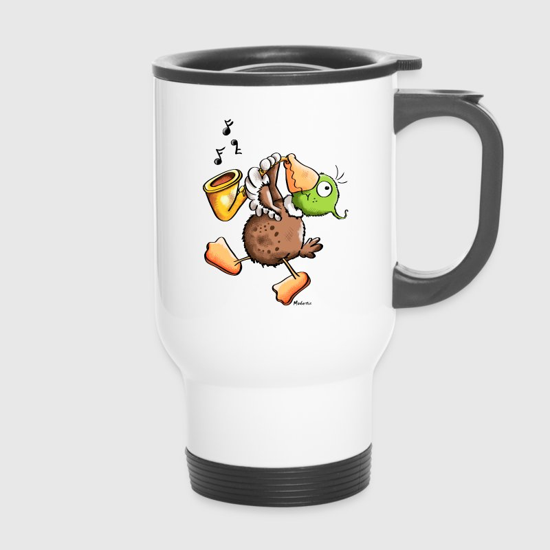 Funny Duck With Saxophone Mugs & Drinkware - Travel Mug