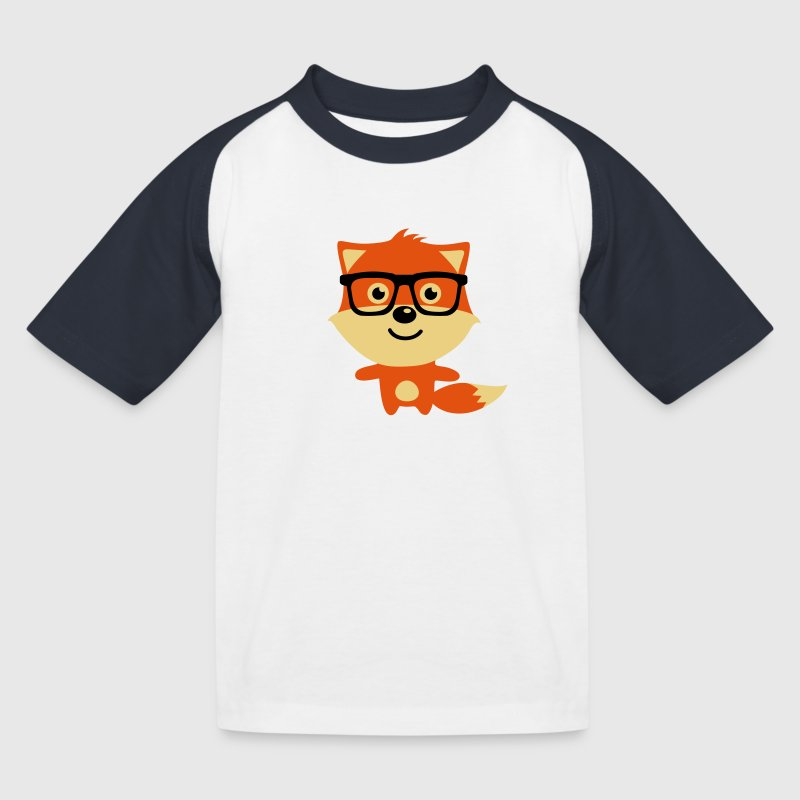 Cute & Funny Hipster Baby fox with nerd glasses T-Shirts - Kinder Baseball T-Shirt