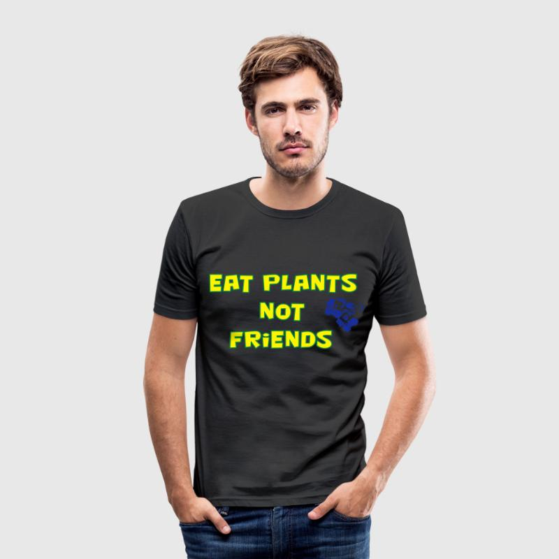 Eat plants not friends, gelb und grün - Männer Slim Fit T-Shirt