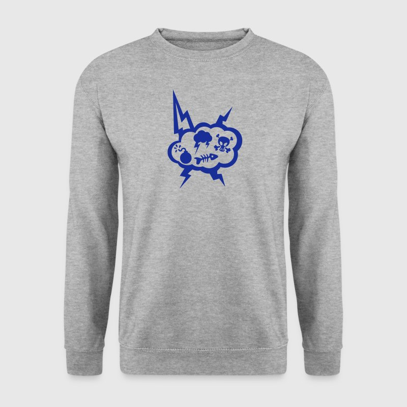 nuage eclair tete mort bulle poisson ico Sweat-shirts - Sweat-shirt Homme