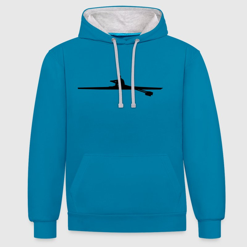 rowing single - man Hoodies & Sweatshirts - Contrast Colour Hoodie