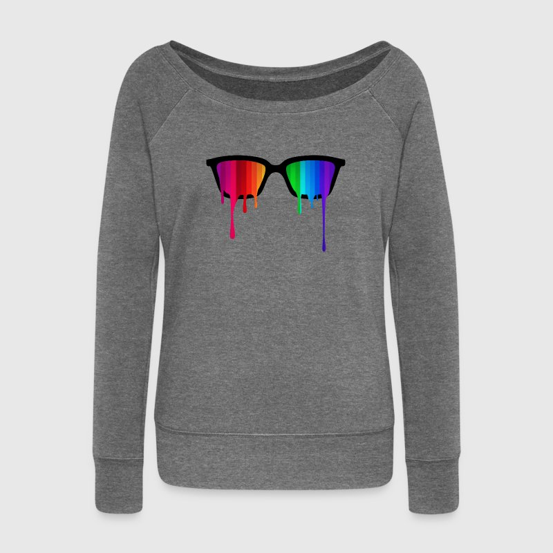 Rainbow - Spectrum (Pride) / Hipster Nerd Glasses Hoodies & Sweatshirts - Women's Boat Neck Long Sleeve Top