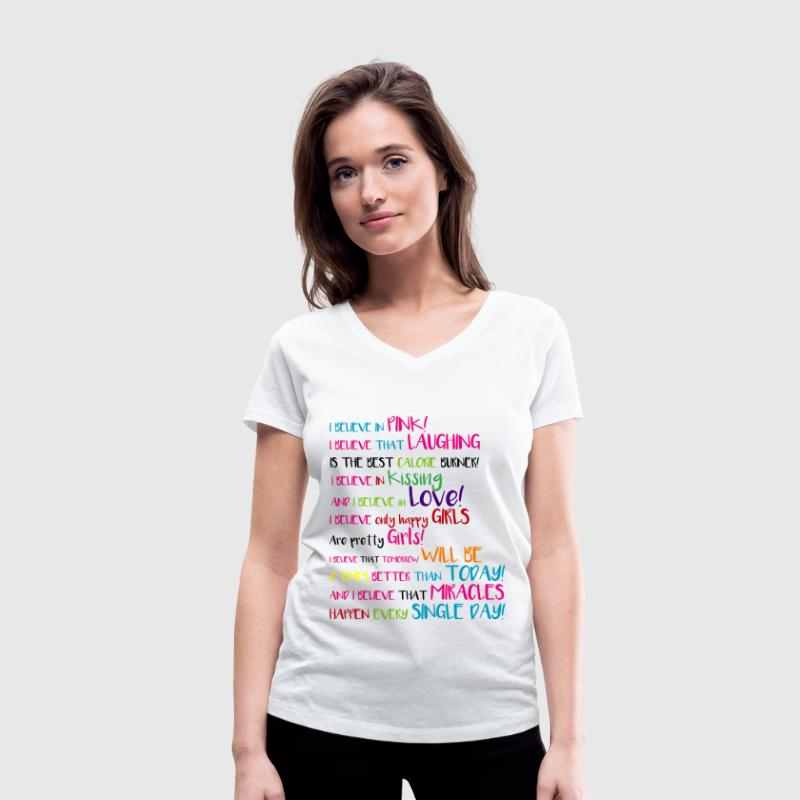 I BELIEVE in PINK - WHITE VERSION T-Shirts - Women's V-Neck T-Shirt