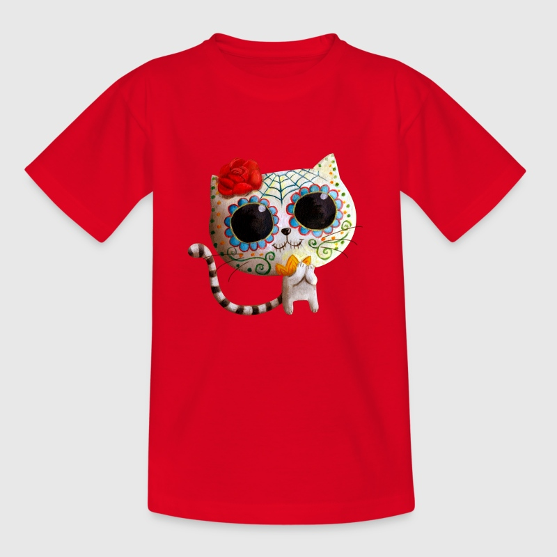 The Day of The Dead Cute White Cat Shirts - Kids' T-Shirt