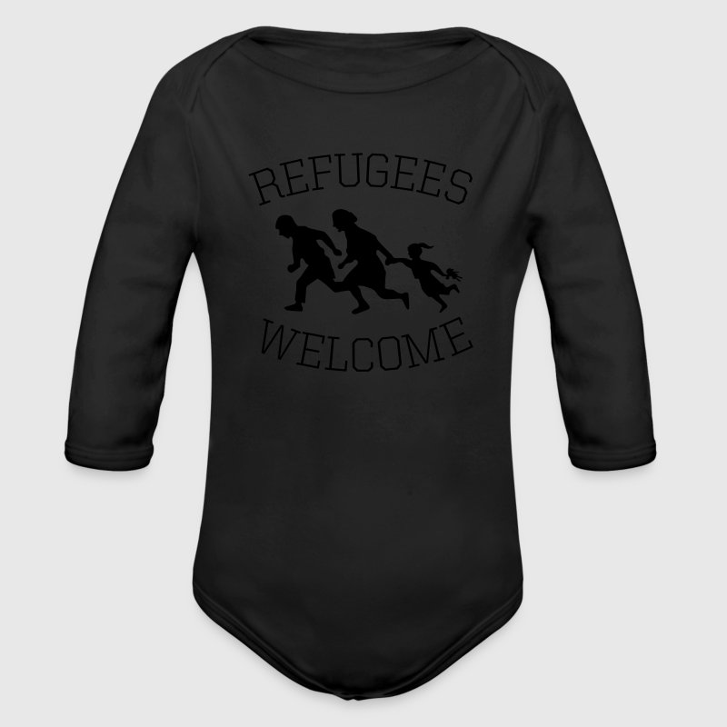 refugees welcome! Baby Bodys - Baby Bio-Langarm-Body