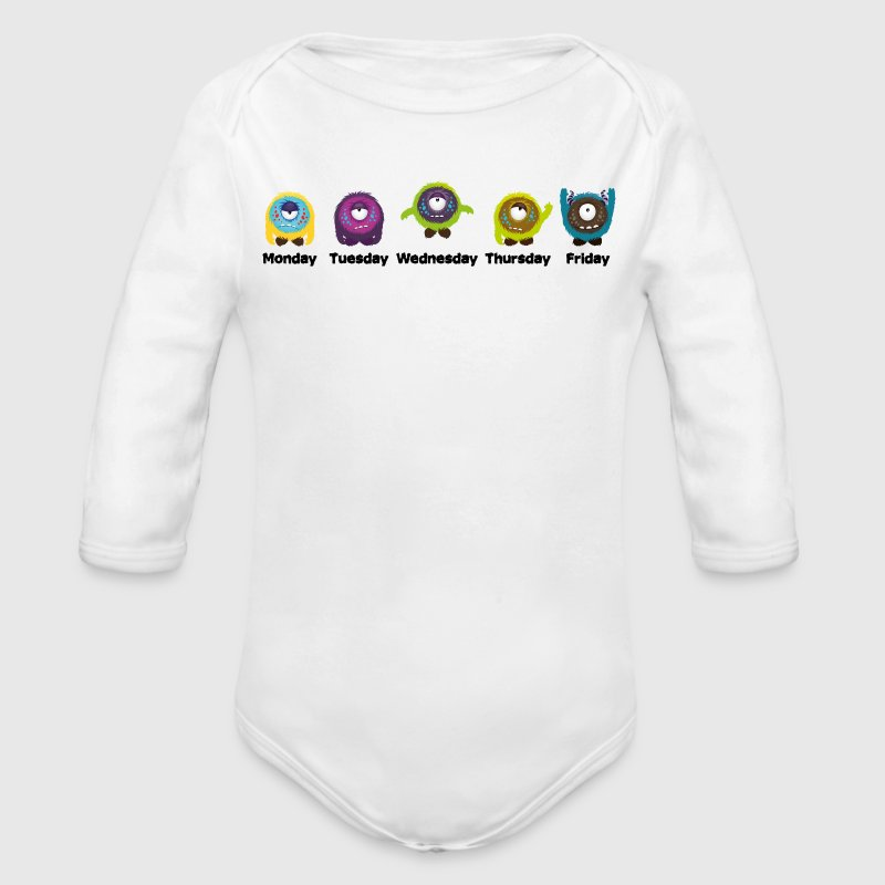 Wochentage Monster Baby Bodys - Baby Bio-Langarm-Body