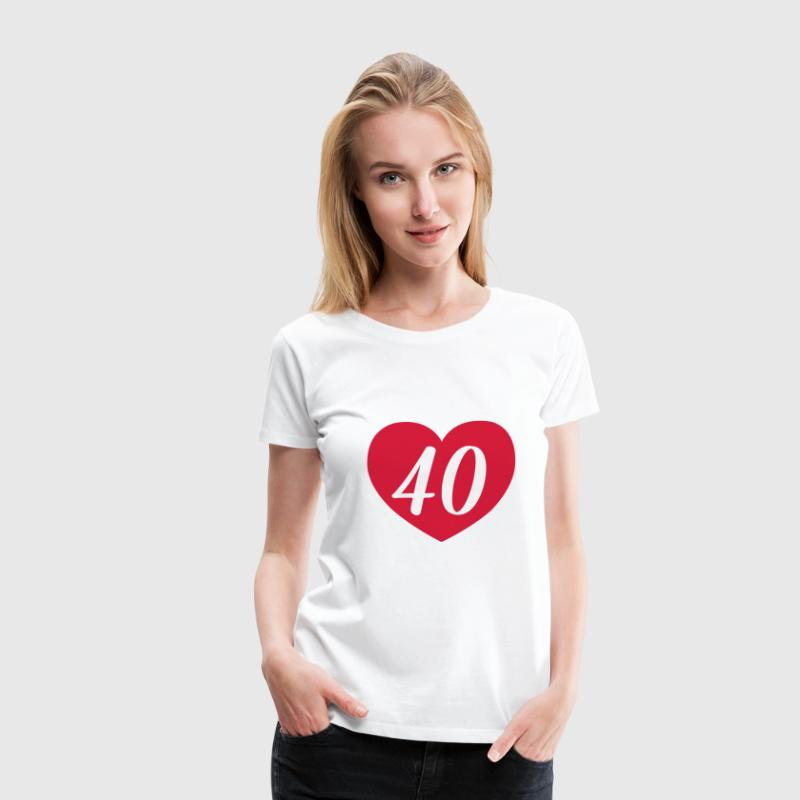 40th birthday heart T-Shirts - Women's Premium T-Shirt