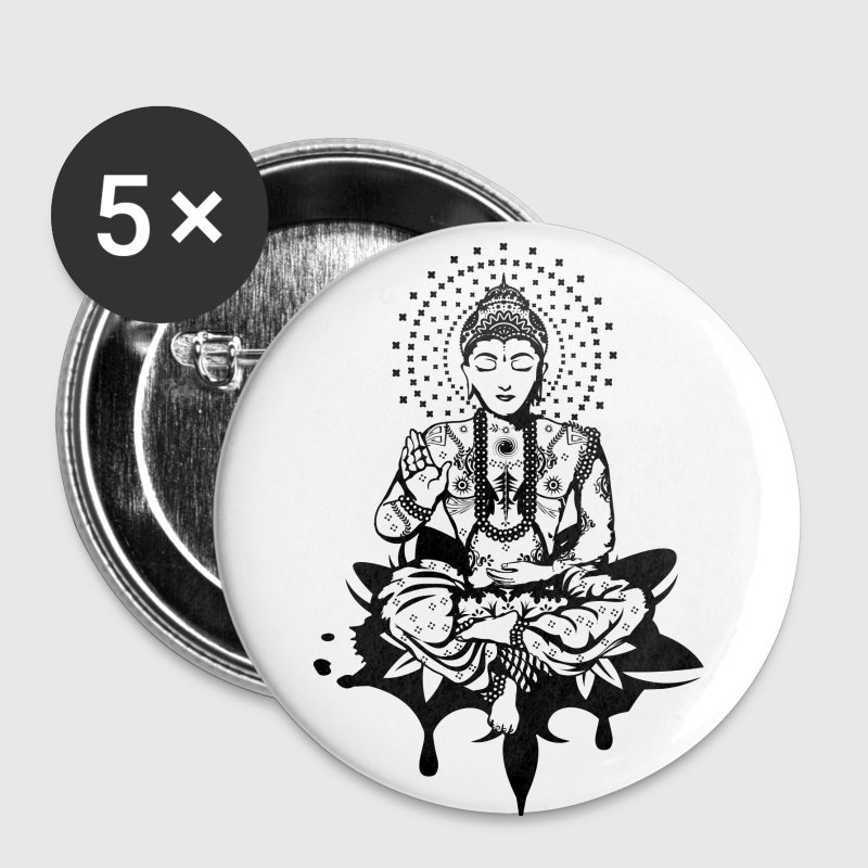 Bouddha dans la position du lotus Badges - Badge moyen 32 mm