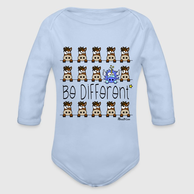 Body Bébé, Licorne Bleu - Be Different - Body bébé bio manches longues