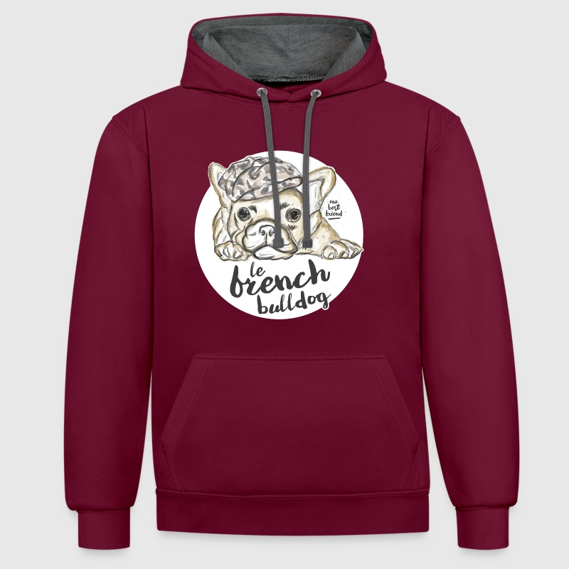 Burgundy/charcoal French Bulldog Hoodies & Sweatshirts - Contrast Colour Hoodie
