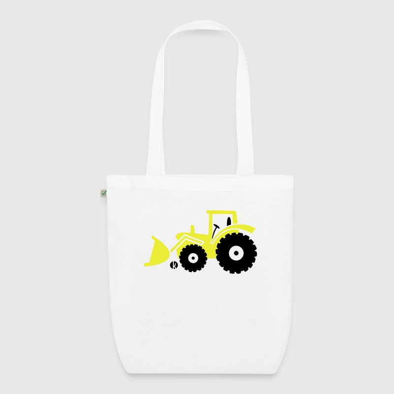 Tractor front loader Bulldog wheel loader with bucket Bags & Backpacks - EarthPositive Tote Bag