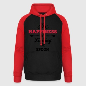 Negro Happiness is licking the spoon Delantales - Sudadera con capucha de béisbol unisex