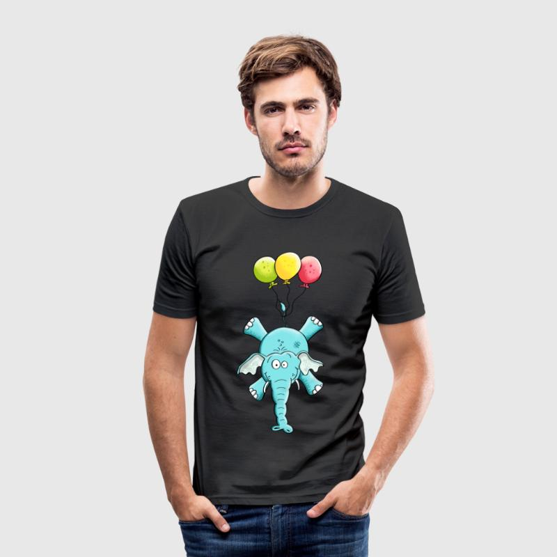 Elefant med balloner T-shirts - Herre Slim Fit T-Shirt