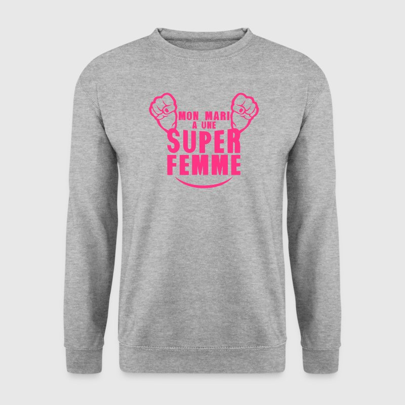 mon mari super femme  poing fermer Sweat-shirts - Sweat-shirt Homme