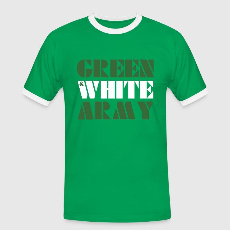 GREEN & WHITE ARMY _STENCIL_3 T-Shirts - Men's Ringer Shirt