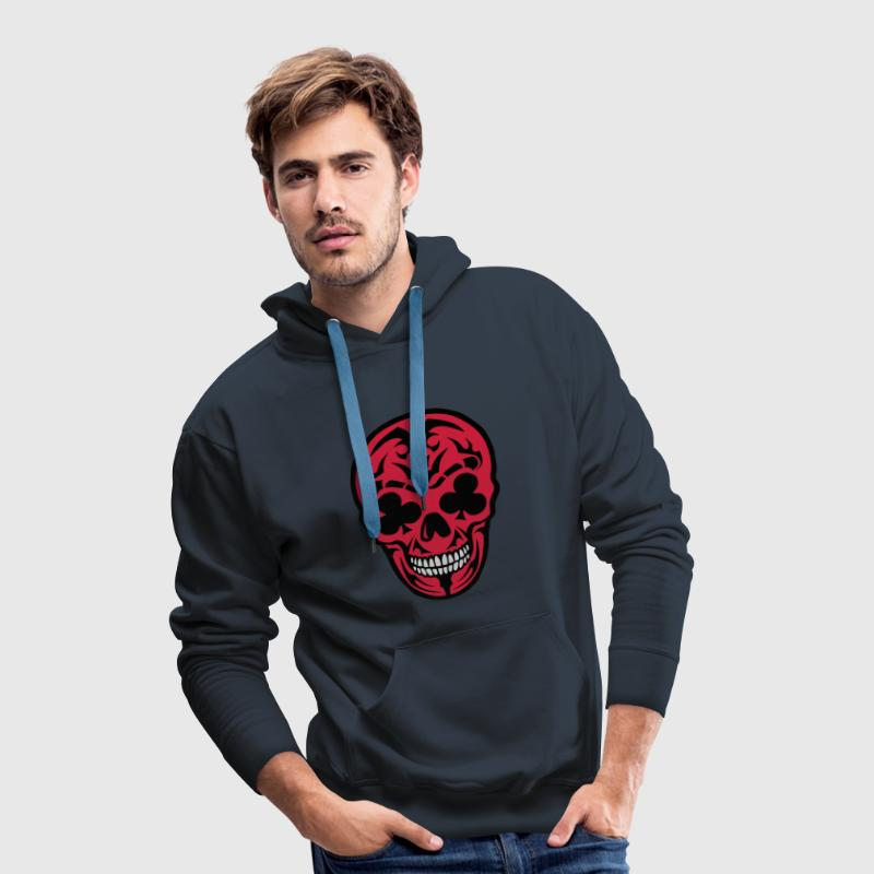 tete mort trefle poker carte skull crane Sweat-shirts - Sweat-shirt à capuche Premium pour hommes