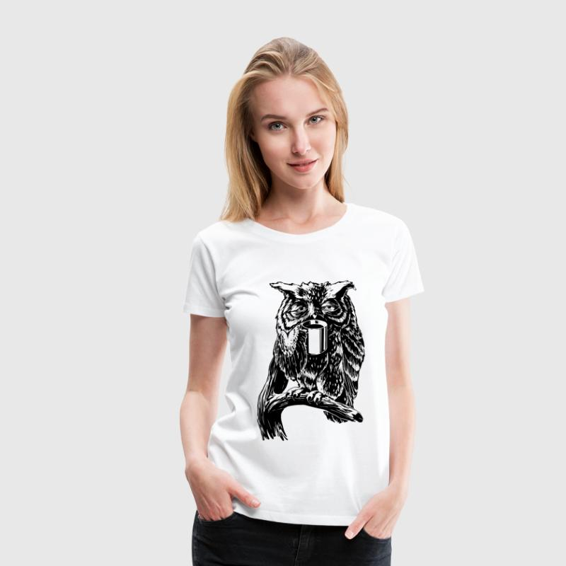 White Coffee Owl black T-Shirts - Women's Premium T-Shirt