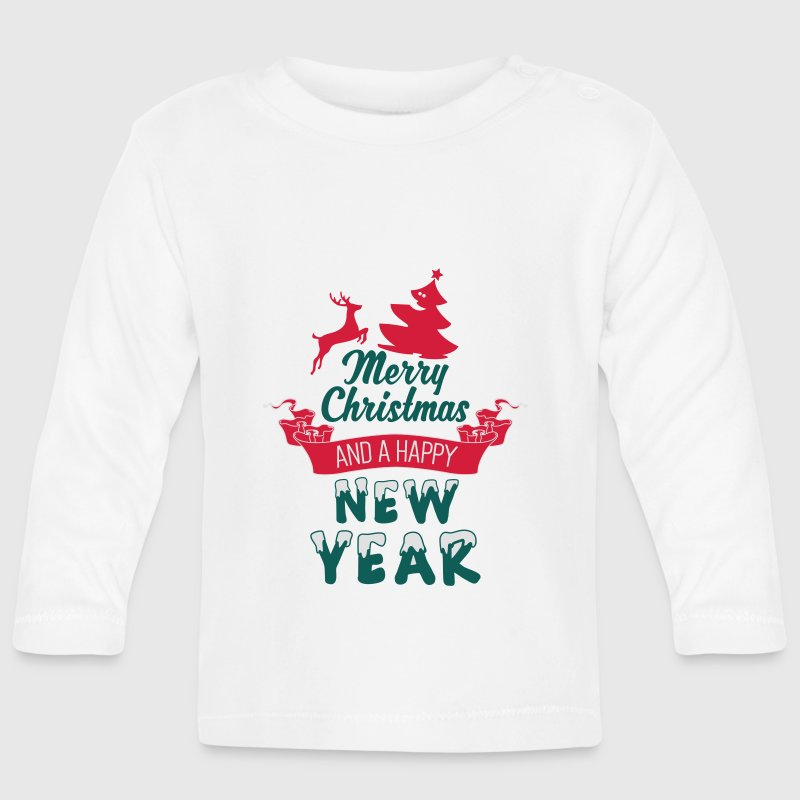 Merry christmas and a happy new year baby long sleeve t Merry christmas t shirt design