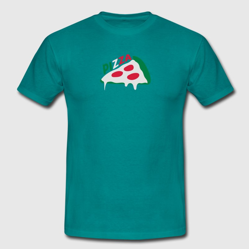 pizza dripping italy flag colors cheese salami sli T-Shirts - Men's T-Shirt