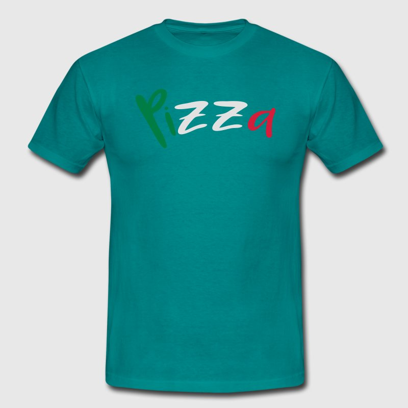 Pizza tekst bogstaver logo design italien flag far T-shirts - Herre-T-shirt